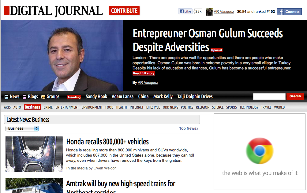 Digital Journal article of Osman Gulum, Entrepreneur