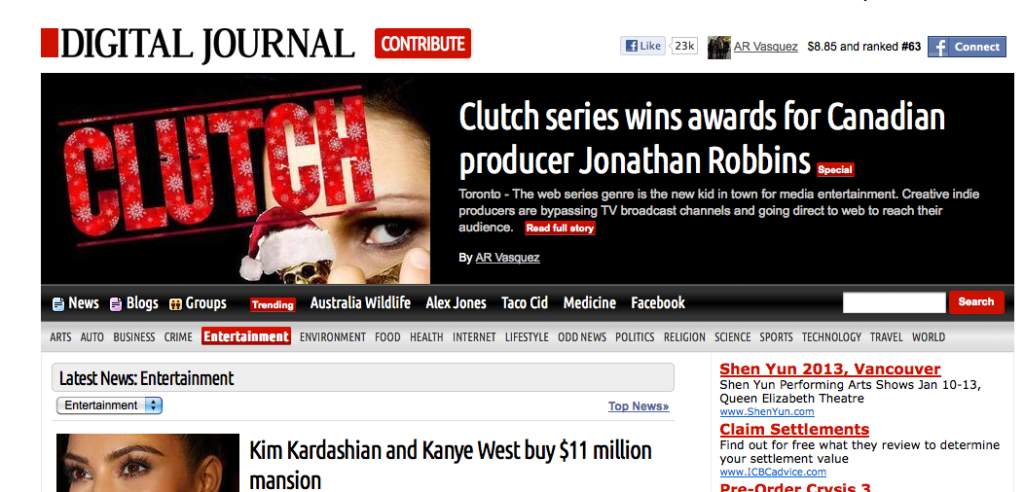 Digital Journal interview with Clutch web series producer Jonathan Robbins