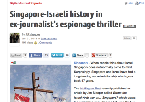 Digital Journal article: Singapore-Israeli history in ex-journalist's espionage thriller