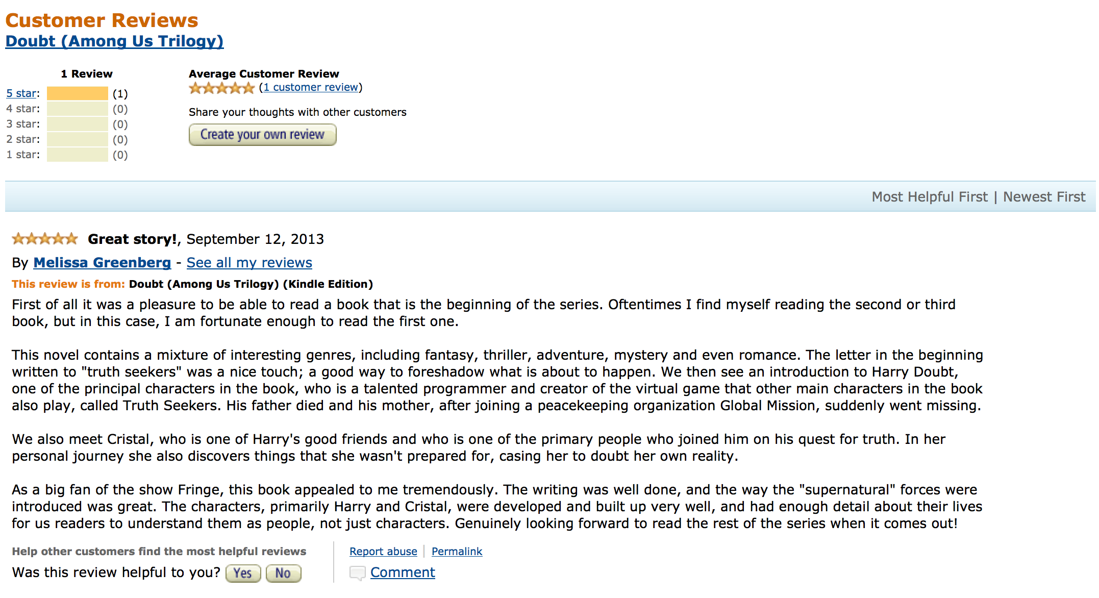 screenshot of Amazon review Doubt, Among Us Trilogy 1