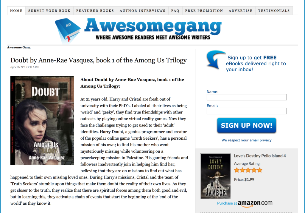 Doubt, Among Us Trilogy featured on Awesome Gang home page