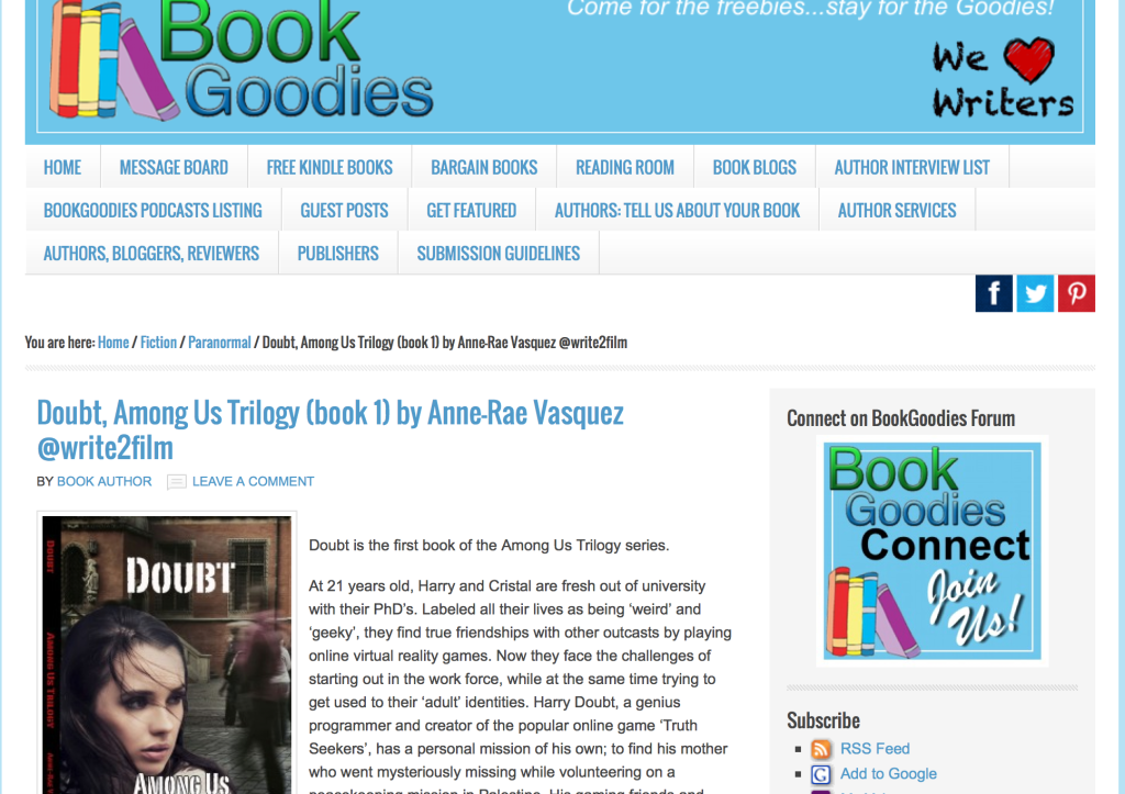 Book launch: Interview with Anne-Rae Vasquez on BookGoodies.com