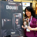 Anne-Rae Vasquez at book launch with atest book Doubt, Among Us Trilogy - photo credit J. Lee