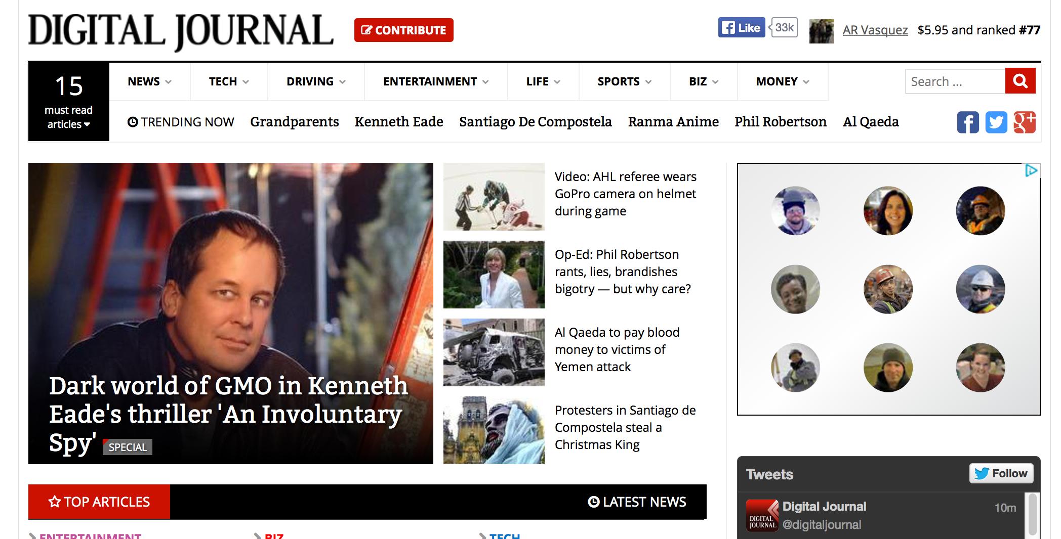 my interview with Kenneth Eade headlines Digital Journal site