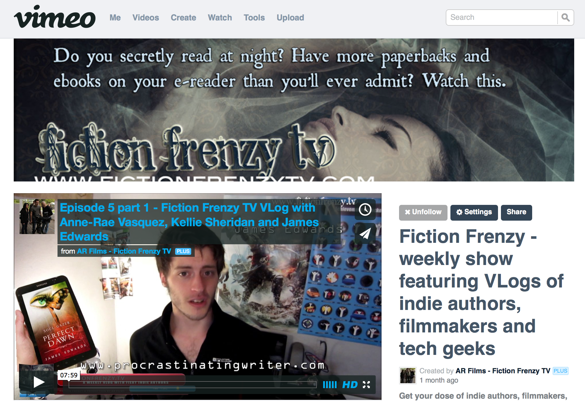 Vimeo Fiction Frenzy TV Vlog channel