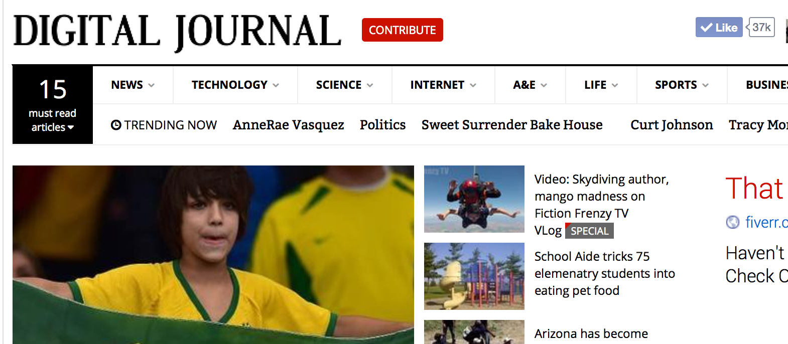 Anne-Rae Vasquez's Fiction Frenzy TV VLog show was featured on Digital Journal's home page (see top right icon)