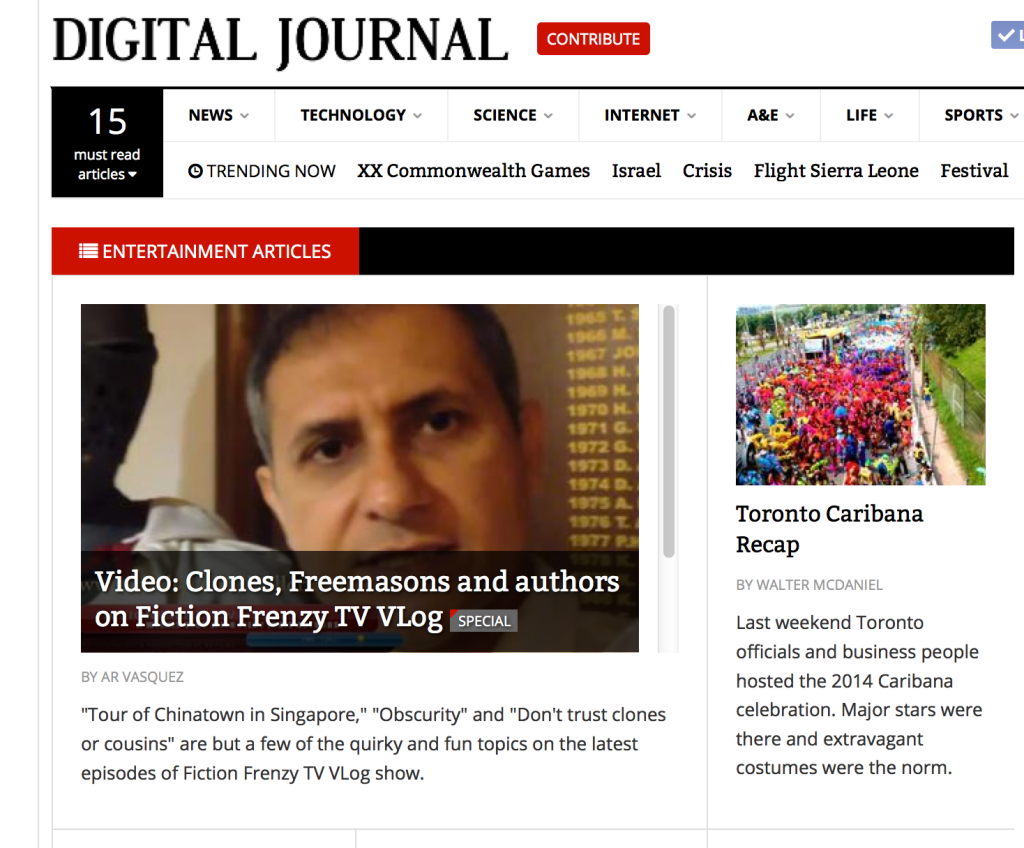 Digital Journal - Fiction Frenzy TV Vlog show Clones, Teleportation and Freemasons