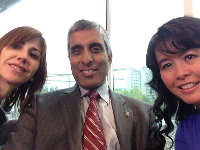 Josefina and Anne-Rae selfie video with UBC President Gupta