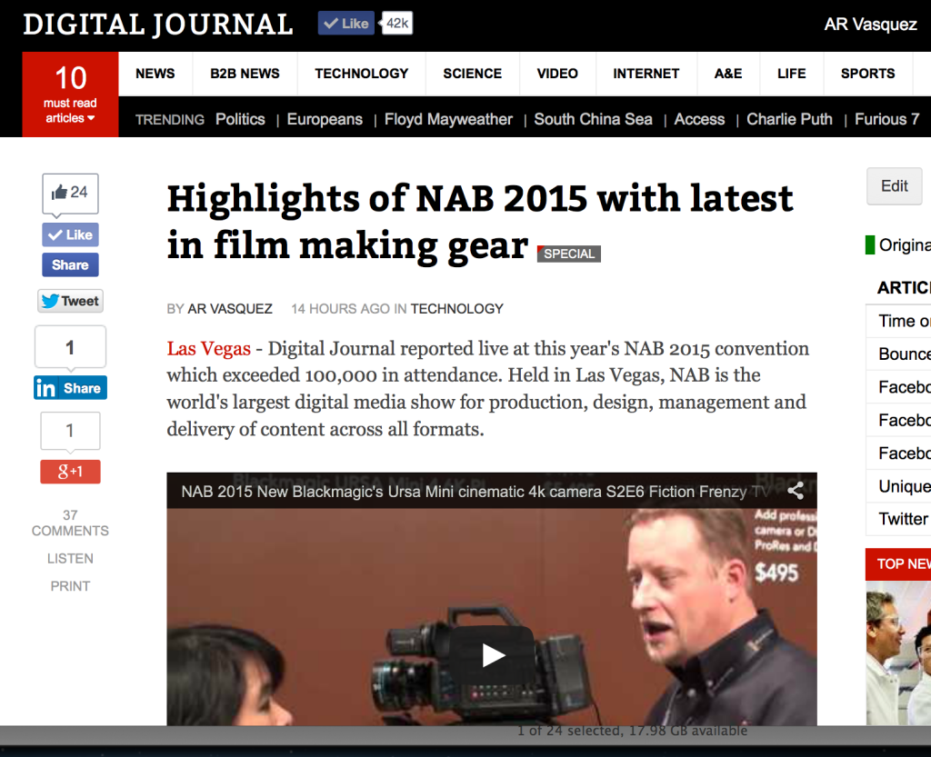 Digital Journal – covered NAB 2015 filmmaker tech conference