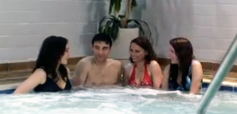 Adel in the hottub with his English teachers.