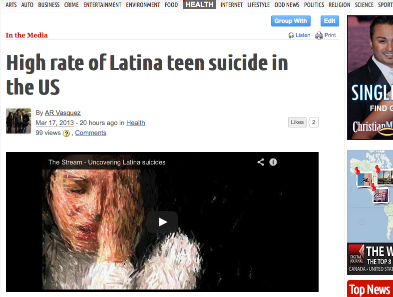 Digital Journal - High rate of Latina Teen Suicide in US