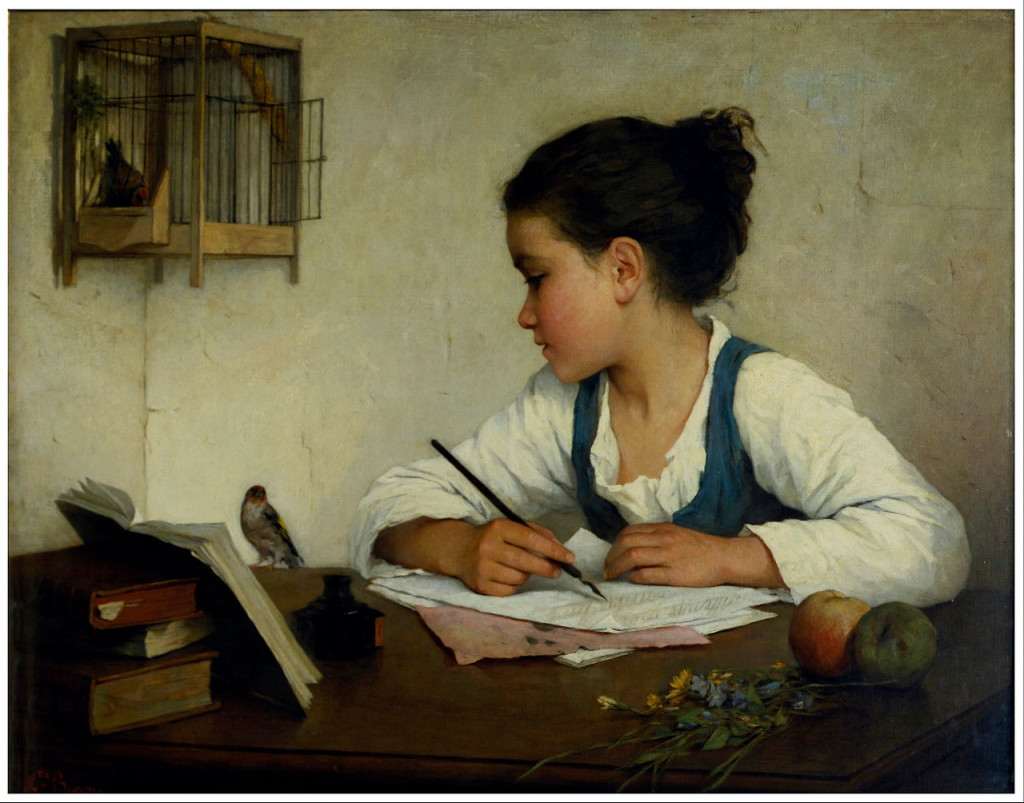 Henriette Brown, a girl writing - credit commons.wikimedia.org