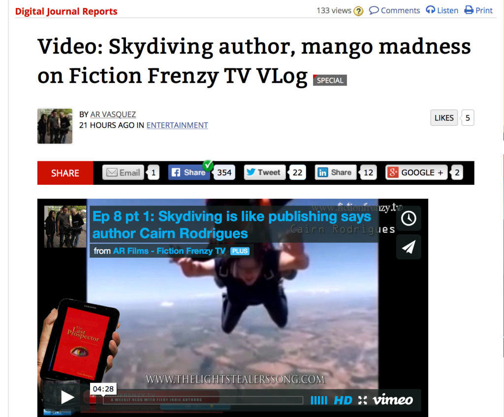 Digital Journal: Authors skydiving and mango madness by Anne-Rae Vasquez