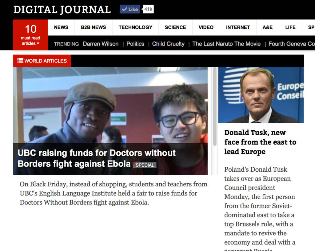 DIgital Journal: UBC raises funds for Doctors without Borders fight against Ebola